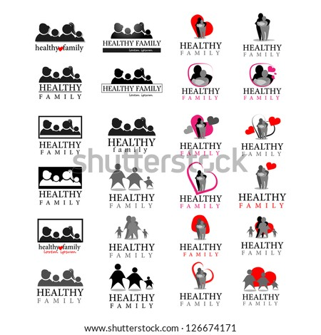 Healthy And Harmony Family - Collection of Symbols Isolated On White Background. Vector Illustration, Graphic Design Editable For Your Design. Healthy Logo - stock vector