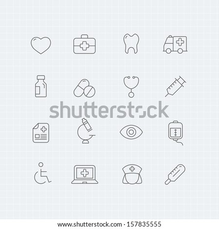 healthy and medical vector thin line symbol icon  - stock vector