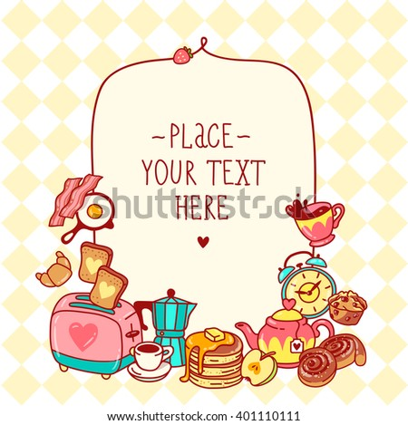 Healthy and tasty cute doodle art breakfast menu on light yellow background toast, tea pot, coffee pot, espresso, fried bacon, fried egg, pastry, croissant, muffin, apple, sweets, strawberry - stock vector