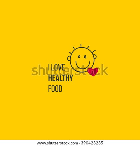 Healthy bio food symbol with smile baby face and heart. Love healthy food typography logo for childrens diet food. Child smiled doodle sketch. Hand drawn food logo. - stock vector