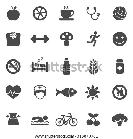 Healthy black icons set.Vector - stock vector