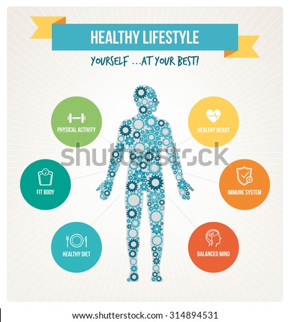 Healthy body and lifestyle concept infographics with human body composed of gears and healthy living icons set - stock vector