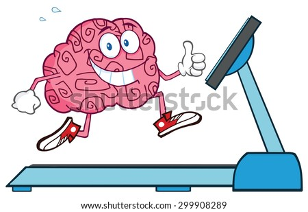 Healthy Brain Cartoon Character Running On A Treadmill And Giving A Thumb Up. Vector Illustration Isolated On White - stock vector