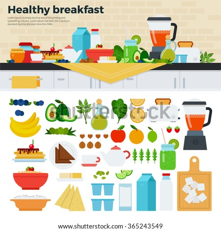 Healthy breakfast vector flat illustrations. Fresh dishes full of vitamins on served on the table. Healthy eating concept. Milk, cheese, porridge, fruits isolated on white background - stock vector