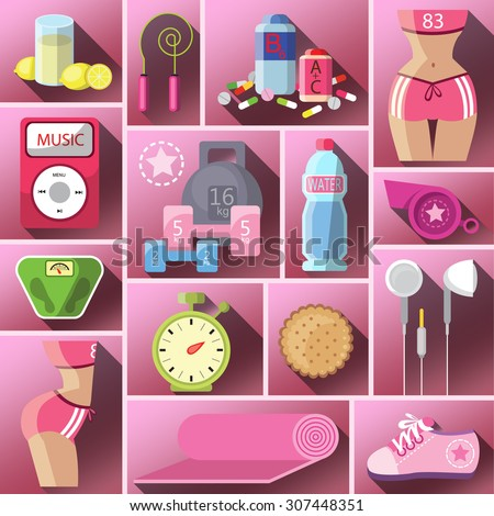Healthy diet flat style illustration. Diet. Choice of girls: being fat or slim. Healthy lifestyle and bad habits. Icons. Healthy lifestyle, a healthy diet and daily routine. Vector flat illustration. - stock vector