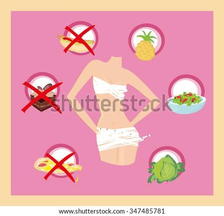 healthy eating - card - stock vector