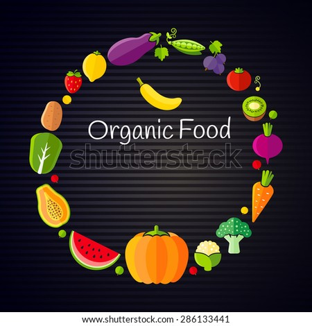 Healthy eating concept with flat fruits and vegetables - stock vector