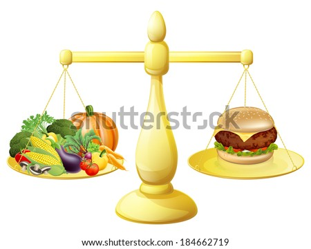 Healthy eating diet decision concept of healthy vegetables on one side of scales and a burger junk food on the other. Could also be for the importance of a balanced diet. - stock vector