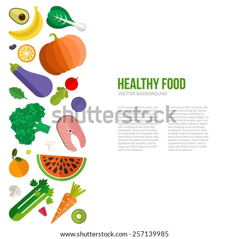 Healthy eating vector concept with flat fruits, vegetables and copyspace. Diet and organic food template. Great for healthy magazines, cooking web sites and restaurant newsletters.  - stock vector