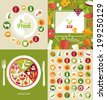 Healthy food and farm fresh and commerce concept, flat style, heart shape. food icons, vector illustration  - stock