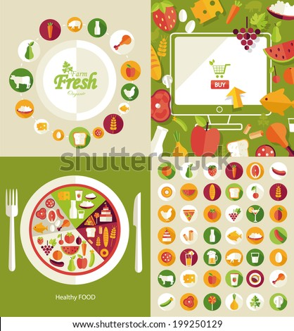 Healthy food and farm fresh and commerce concept, flat style, heart shape. food icons, vector illustration  - stock vector
