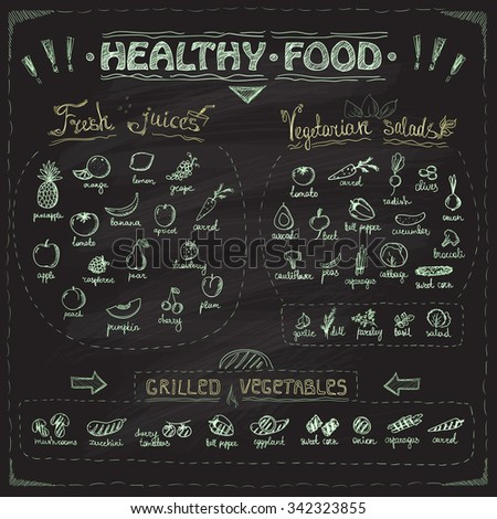 Healthy food chalkboard menu with hand drawn assorted fruits and vegetables chalk graphic symbols collection. Fresh juices, vegetarian salads, grilled vegetables - stock vector