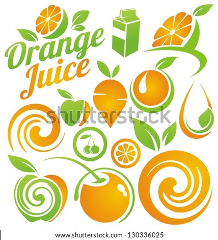 Healthy food concept. Set of fruit and juice icons, symbols, labels and design elements. Organic food vector collection. - stock vector