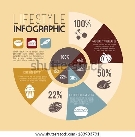 Healthy food design over beige background, vector illustration - stock vector