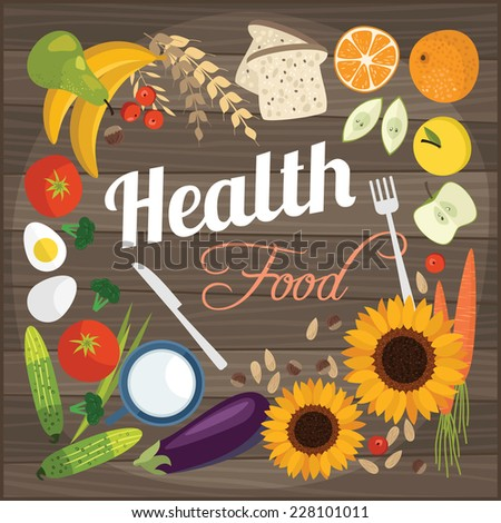 Healthy food flat objects fruits and vegetables background vector illustration  - stock vector
