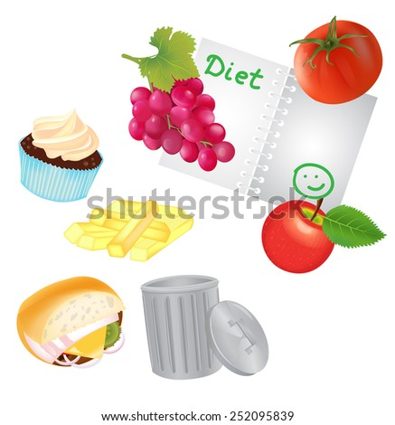 Healthy food for Routine and Unhealthy Food for Trash Can. Vector illustration EPS10. - stock vector