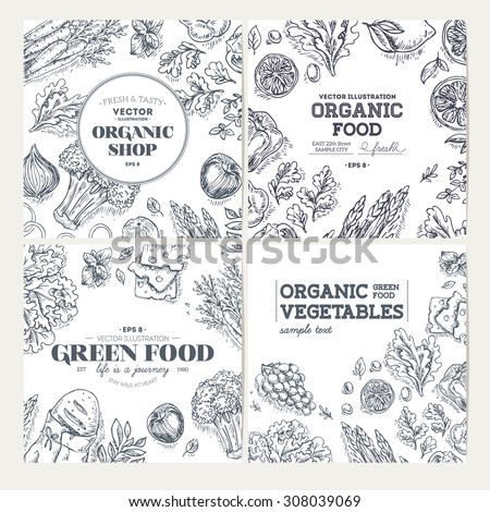 Healthy Food Frames. Banner collection. Linear graphic. Vector illustration - stock vector