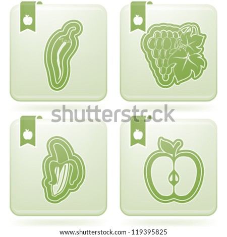 Healthy food - fruits and vegetables icons set, from left to right, top to bottom:   Chili peppers, Grapes, Banana, Apple.