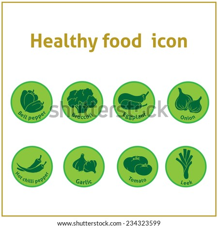 healthy food green icons - stock vector
