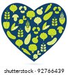 Healthy food heart isolated on white ( blue & green ) - stock vector