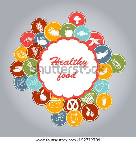 Healthy food icon background.All objects are grouped separately. - stock vector