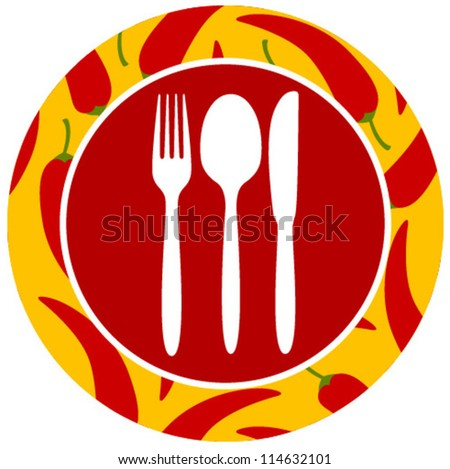 healthy food icon hot pepper - stock vector