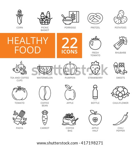 Healthy Food Icon set. Vector Thin line icon. Good for presentation, training, marketing, design, web. Can be used for creative template, logo, sign, craft. Isolated on white background.  - stock vector