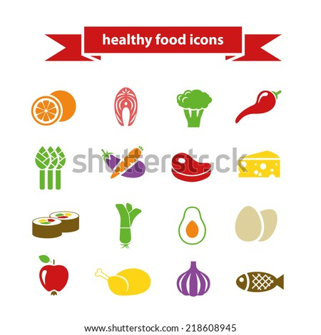 healthy food icons - stock vector