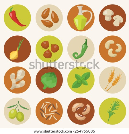 Healthy food icons set in flat style  - stock vector