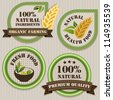 Healthy food labels. Patchwork style. - stock vector
