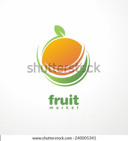 Healthy food logo design concept. Fruit and juice icon theme. Organic food unique symbol. - stock vector
