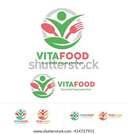 Healthy Food Logo, People with Fork and Spoon Logo - stock vector