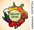 healthy food menu background Vegetable vector illustration - stock vector