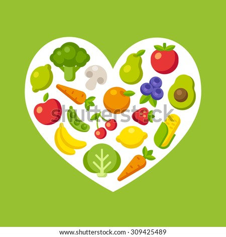 Healthy food pattern: colorful cartoon fruits and vegetables arranged in a heart shape. - stock vector