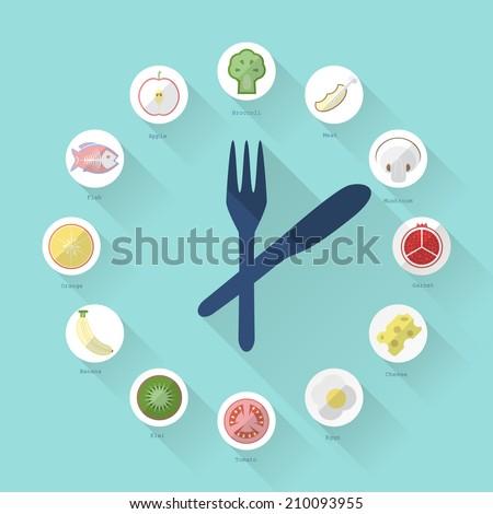 healthy food regime in flat design - stock vector