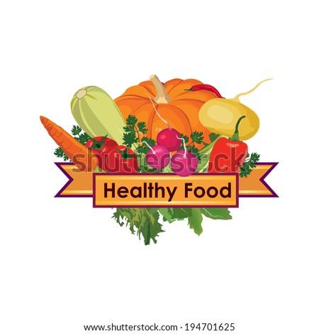 Healthy food sign - stock vector