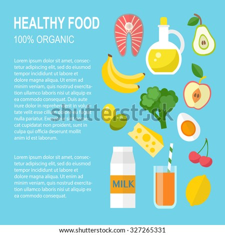 Healthy food vector template. Organic products concept. Flat style design - stock vector