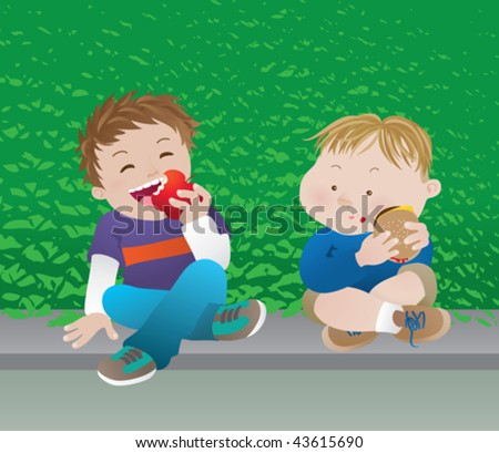 Healthy food vs. junk food. A couple of boys having different snacks. - stock vector