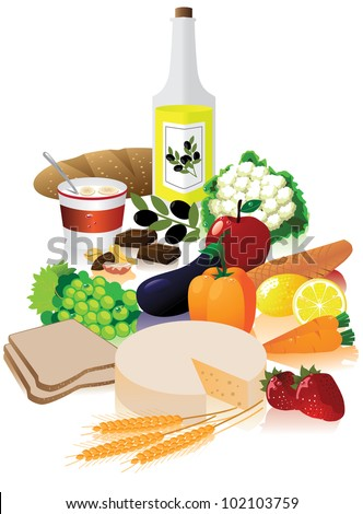 Healthy foods EPS 8 vector, grouped for easy editing. No open shapes or paths. - stock vector