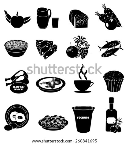 Healthy foods icons set