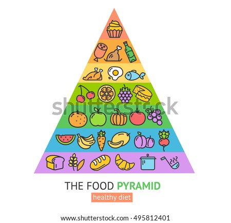 Illustration Food Pyramid Different Healthy Food Stock Vector ...
