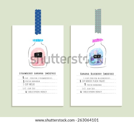 Healthy fresh smoothies recipes. Cute hand drawn illustration made with real oil pastel. Isolated - stock vector