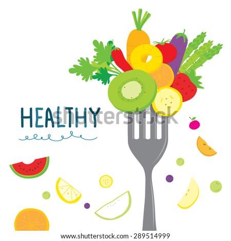 Healthy Fruit Vegetable Diet Useful Cartoon Vector - stock vector