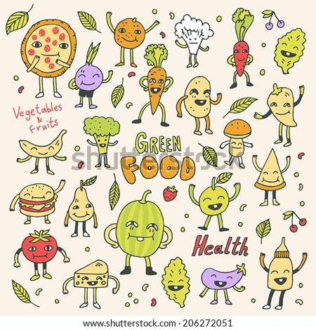 Healthy green vegetarian food colorful doodle set. Vector illustration. - stock vector