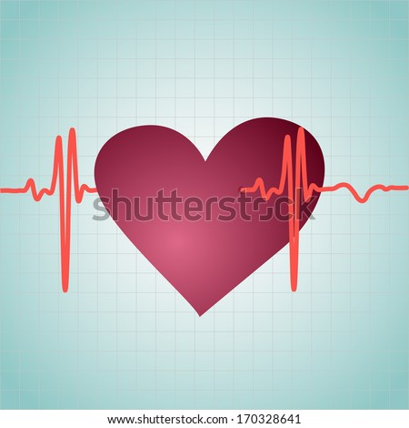 Healthy Heart with cardiogram, vector illustration