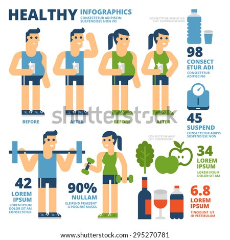 Healthy Infographics - stock vector