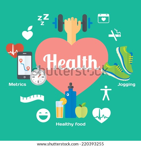 Healthy life concept flat icons of jogging, gym, healthy food, metrics. Isolated vector illustration and modern design element - stock vector