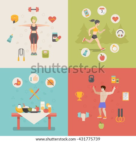 Healthy life concept vector illustration set. People sports health farm fresh food web site banner image. Woman man running cup dumbbell skipping rope apple table Infographics. - stock vector