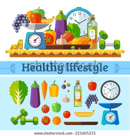 Healthy lifestyle, a healthy diet and daily routine. Vector flat illustration. - stock vector