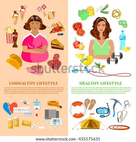 Healthy lifestyle and unhealthy lifestyle banner obesity problem diet and fitness fat and slim girl fast food vector illustration - stock vector